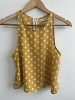 MINKPINK Mustard Yellow Polka Dot Sleeveless Singlet Tank Crop Top 8 S Small