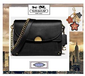 NWT COACH DREAMER WILDFLOWER CHARM Shoulder Crossbody Bag In BLACK Leather Brass