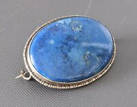 Art Deco Silver & Lapis Lazuli Stone Brooch Beautiful Blue Colour 1930s