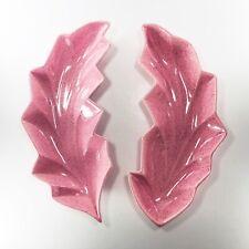 New Listing2pc Vtg 50's Pink Speckled Ceramic Dish Leaf Shaped Pottery Enchanto Co Calif.