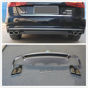 S6 Style Honeycomb Rear Bumper Diffuser with Exhaust Tip For Audi A6 C7 2012-15
