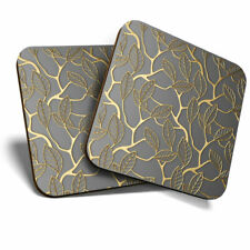2 x Coasters - Lattice Gold Flowers Art Deco Home Gift #21060