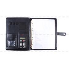 A4 Leather Conference Folder Portfolio Ring Binder + Calculator Business Travel