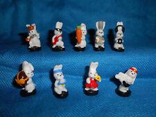 Cute Cartoon WHITE RABBITS Bunnies Set 9 Mini Figurines FRENCH Porcelain FEVES