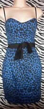 ELISE RYAN BLUE ANIMAL PRINTCORSET DRESS SIZE 8 PRE LOVED