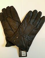 MENS 100% LEATHER GLOVES LINED BLACK DRIVING SOFT WINTER WARM THERMAL FASHION