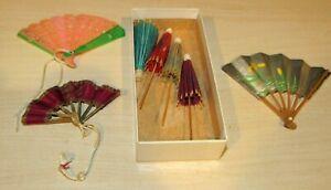 Vintage lot of 3 Dollhouse Miniature  Asian Fans w/4 Umbrellas Nice Lot