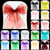 Organza Chair Sashes Bows For Chairs Cover Bow Sash Banquet Party Decor Wedding