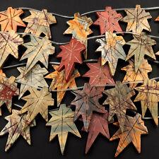 "Carved Red Creek Jasper Leaf Multi-color Picasso Jasper Beads 16"" Strand"