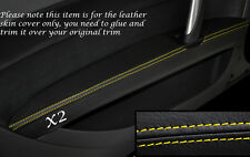 YELLOW STITCH 2X FRONT DOOR ARMREST LEATHER SKIN COVERS FITS AUDI TT MK2 06-14
