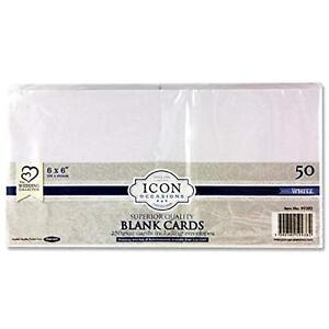 """Icon Card with Envelopes. White. 6 x 6"""". Pack of 50"""