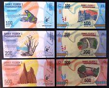 Madagascar Nouveauté 3 Billets 100, 200, 500, Ariary 2017 UNC/Neuf NEWS