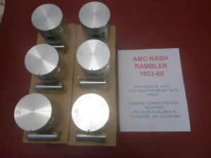 1953-65 AMC,NASH,RAMBLER 195.6(196) 6 CYL FLATHEAD PISTON SET COMPLETE WITH PINS