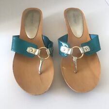Nine West size 10 M Women's Wedge Sandals In Teal And Gold - Luciller