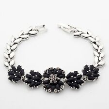 Fashion Small Black Marquise Cubic Zircon Silver Plated 19cm Lady Girl Bracelet