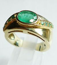 topmk-schmuck Ring, 925er/goldplattiert, SMARAGD, Gr.: 54 (17,2 mm Ø), Traumring