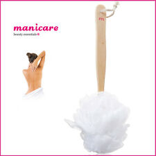Wooden Long Handle Body Puff Bath/Shower Mesh Back Scrubber Netted Sponge Brush