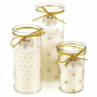 Stylish Cream Candle Patterned Glass Jar Christmas Wedding Romantic Centerpiece