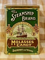 The Steamship Brand Molasses Candy Tin Made in England By Stewart& Young Glasgow