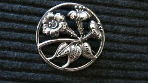 Huge Vintage Sterling Silver Repousse Flower Danecraft Brooch 20 grams