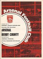 Football Programme - Arsenal v Derby County - Div 1 - 8/11/1969