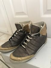 lowest price fb244 a0043 Y-3 Adidas Yohji Yamamoto Metallic Leather Lace Up High Top Sneakers Us 6.5