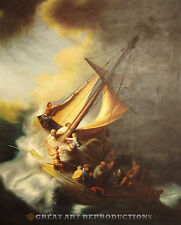"""Christ in the Storm on the Sea of Galilee"", Rembrandt, Reprod. in Oil,  40""x32"""