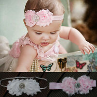 Shabby Flower Stretch Lace Bow Baby Girl Kid Infant Headband Christening Photo