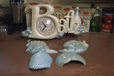 Vintage Burwood Bath Wall Clock-2903 & 2 Fish-2882 & 2 Shell-3105 Plaques