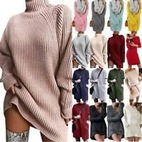 Women Oversized Baggy Sweater Dress Knitted Knitwear Winter Jumper Mini Dress US