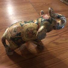 Vintage Ceramic Decorative Mini Elephant Figurine Painted Flowers