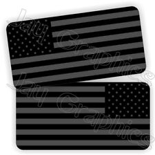 Gray BLACK OPS American Flag Hard Hat Decals | Motorcycle Helmet Stickers Flags