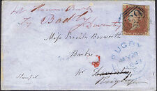 1841 1d Red KH 4m BLUE 659 RUGBY Re-Directed Weedon Daventry Cat. £750.00.