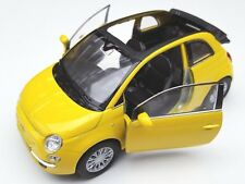 BLITZ VERSAND Fiat 500 C 2010 gelb / yellow Welly Modell Auto 1:34 NEU OVP offen
