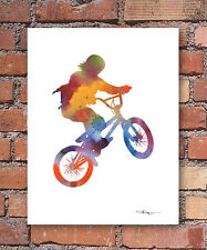 "BMX Abstract Watercolor 11"" x 14"" Art Print by Artist DJ Rogers"