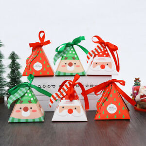 2021 NEW Christmas Triangle Party Paper Favour Candy Sweets Gift Boxes Ribbon Ta