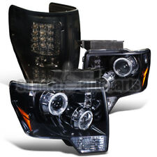 2009-2014 Ford F150 Glossy Black Halo Projector Headlights+Smoke LED Tail Lamps