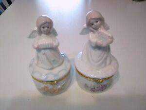 Hinged Trinket Box Porcelain Religious Angel Figurines pair
