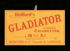 >orig. 1905-10 Redford's Gladiator Virginia Cigarettes **TOBACCO SIGN** w/Hangar