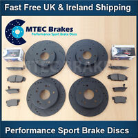 Honda S2000 2.0 2.2 99- Front Rear Drilled Grooved Black Brake Discs MTEC Pads