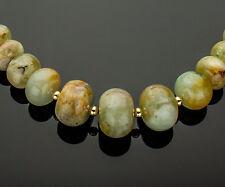 Natural Aquamarine Gemstone Necklace 14K Yellow Gold Accents Aqua Blue Green