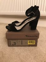 Tamaris Size 5/38 Black Suede Leather Heeled Sandals