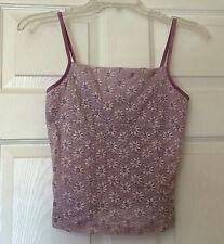 R.com Lavender Silver Sparkle Romantic Sheer Floral Lace Stretch Tank Top S M L