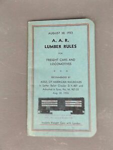Vintage Railroad Manual~1933 AAR Lumber Rules for Freight Cars and Locomotives