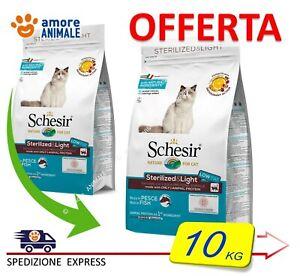 Schesir Dry Cat Sterilized & Light con PESCE  10 kg - Alimento per Gatti Adulti