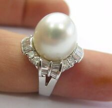 18Kt South Seas Pearl Diamond White Gold Jewelry Ring 1.46Ct 13mm