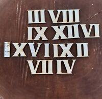 Römische Ziffern Zahlen 1 bis 12 aus Holz in 25mm Höhe für Uhren Basteln Deko