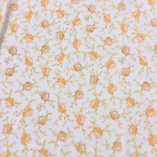 Retro Vintage Nylon Sewing Fabric Soft Sheer Orange Floral Curtain Remnant  NOS