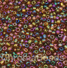 50g glass seed beads - Brown Metallic Rainbow - approx 3mm (size 8/0) craft