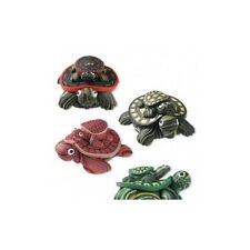 "Polymer Clay Mama Turtle + Baby Magnets Lot of 4 Assorted Colors 40x32mm ~1.5"" L"